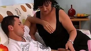 chubby milf rides a young and hard cock