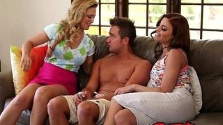 two big tit cougars fuck one lucky guy