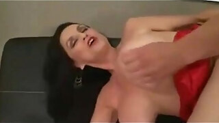 old skinny woman with huge fake tits