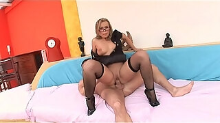 erotic stud getting his huge long dick sucked by cute babe colette in glasses