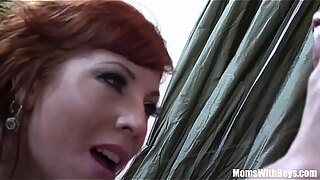 redhead mom brittany o039 connell pierced pussy in sexy stockings fucked