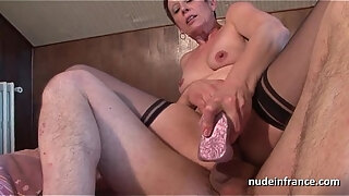 horny french mature in stockings double vaginal plugged and sodomized