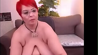 sexy milf libely shows off cunt and melon juggs