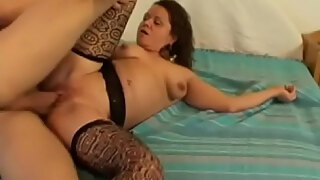 milf andrea with glasses love to fuck wildly and then get a facial