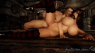 3d animated babe with huge tits gives blowjob and rides huge dick