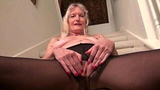 granny claire acquires naughty on the stairs