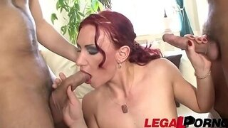 mature horny slut alina takes two dicks with ease