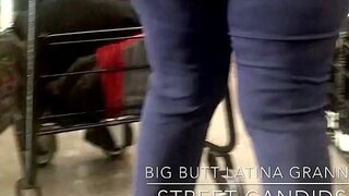 streetcandids big butt latina granny shopping wearing tight jeans