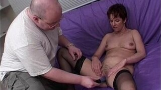 mature model punished by three hard cocks