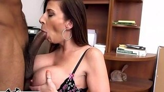 bangbros busty milf sara jay sucks a big black cock like the professional she is