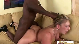 black stud uses his huge dick to plow a busty white milf