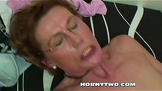nasty mature bitch taking stepsons dick in mouth and pussy for cum on tits
