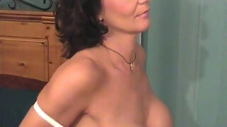 mature sexy in white lingerie get strp and shower