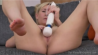 milf strips and masturbates to toe curling orgasm with the hitachi
