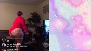bbw red shaking her pear shaped ass on instagram live