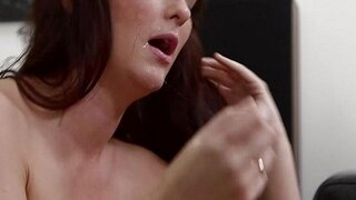 mommybb sexy brunette milf sucking on a young dudes big cock