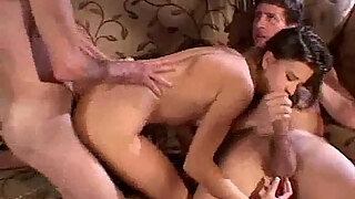 hard threesome for swinger wife while husband watches